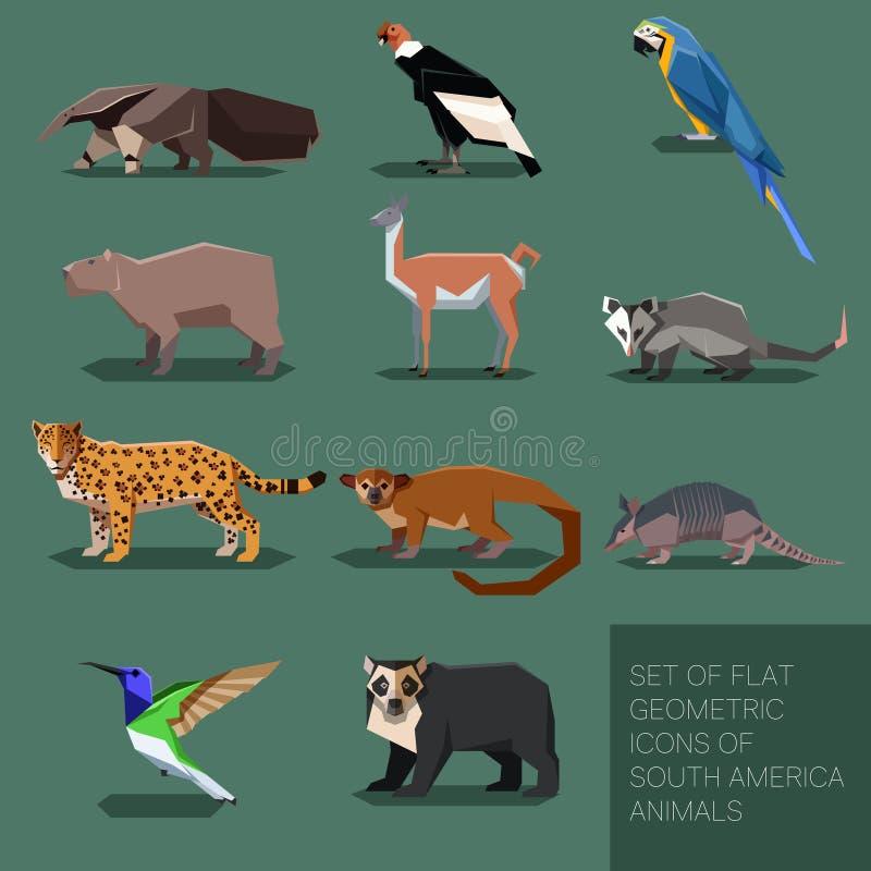 Reeks vlakke geometrische dieren van Zuid-Amerika vector illustratie