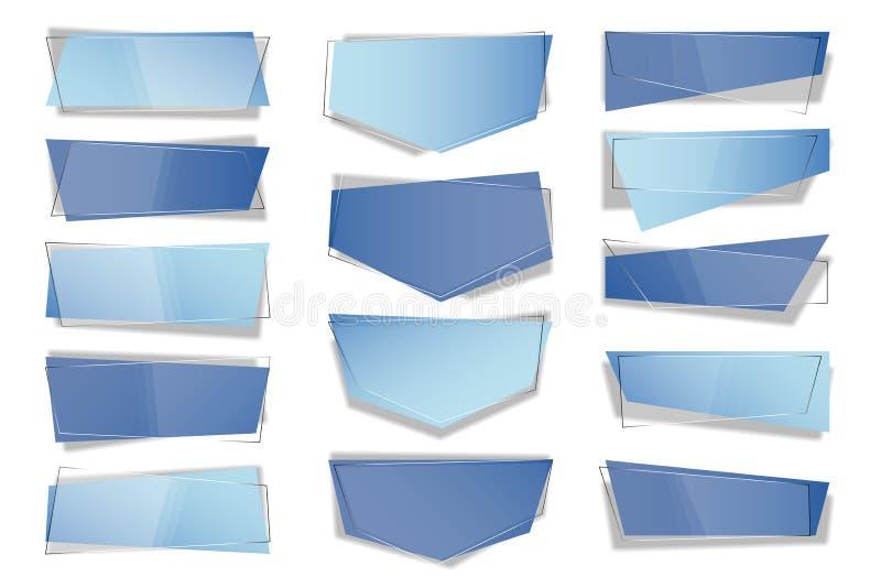 Reeks in vlakke geometrische vectorbanners Transparante banners in ontwerpstijl Blauw van het bedrijfs markeringsetiket ontwerp vector illustratie