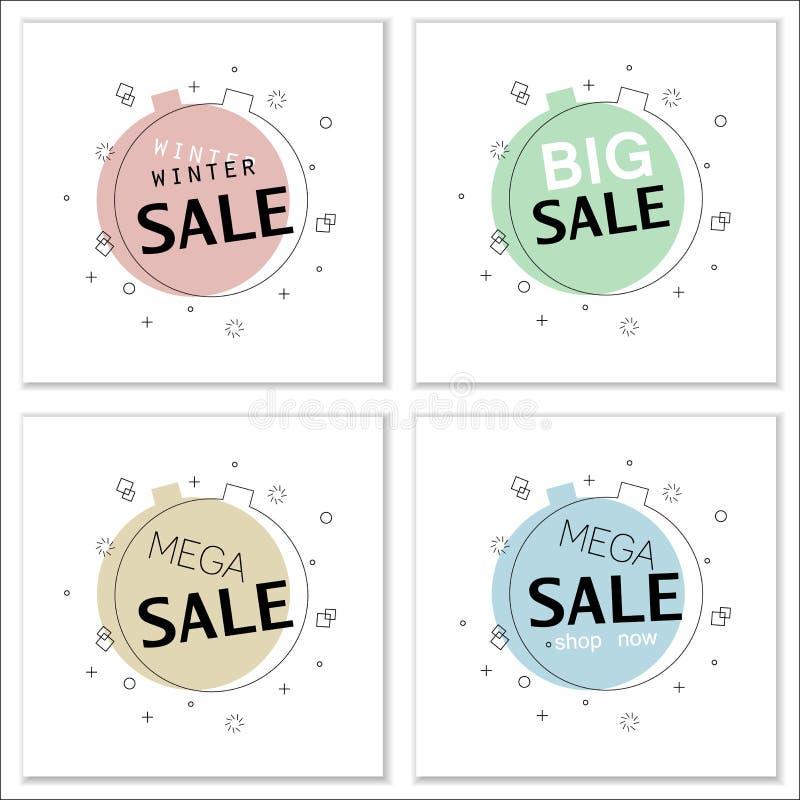 Reeks in vlakke geometrische vectorbanners voor grote verkoop vector illustratie