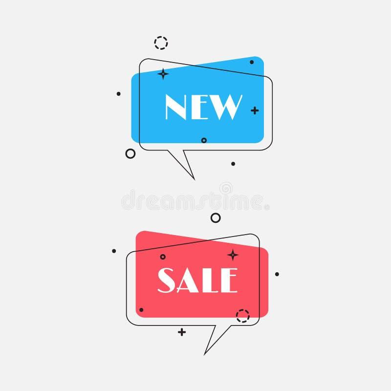 Reeks in vlakke geometrische vectorbellen Levendige transparante banners in retro stijl van het afficheontwerp Uitstekende kleure royalty-vrije illustratie