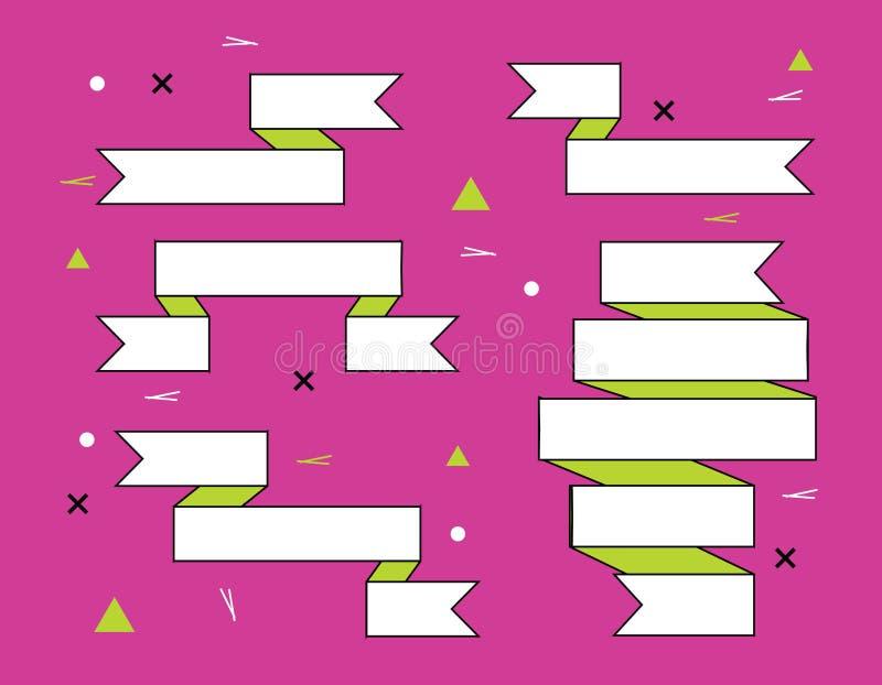 Reeks in vlakke geometrische vectorlinten Levendige transparante banners in retro stijl van het afficheontwerp vector illustratie