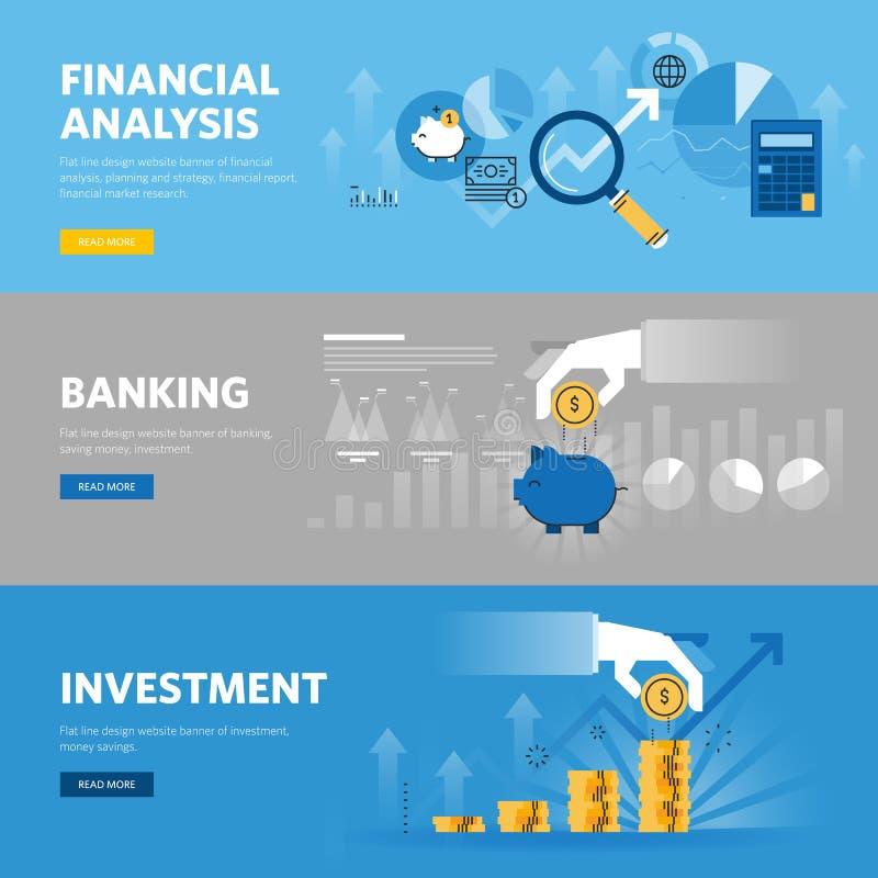 Reeks vlakke het Webbanners van het lijnontwerp voor bankwezen en financiën, investering, marktonderzoek, financiële analyse, bes vector illustratie