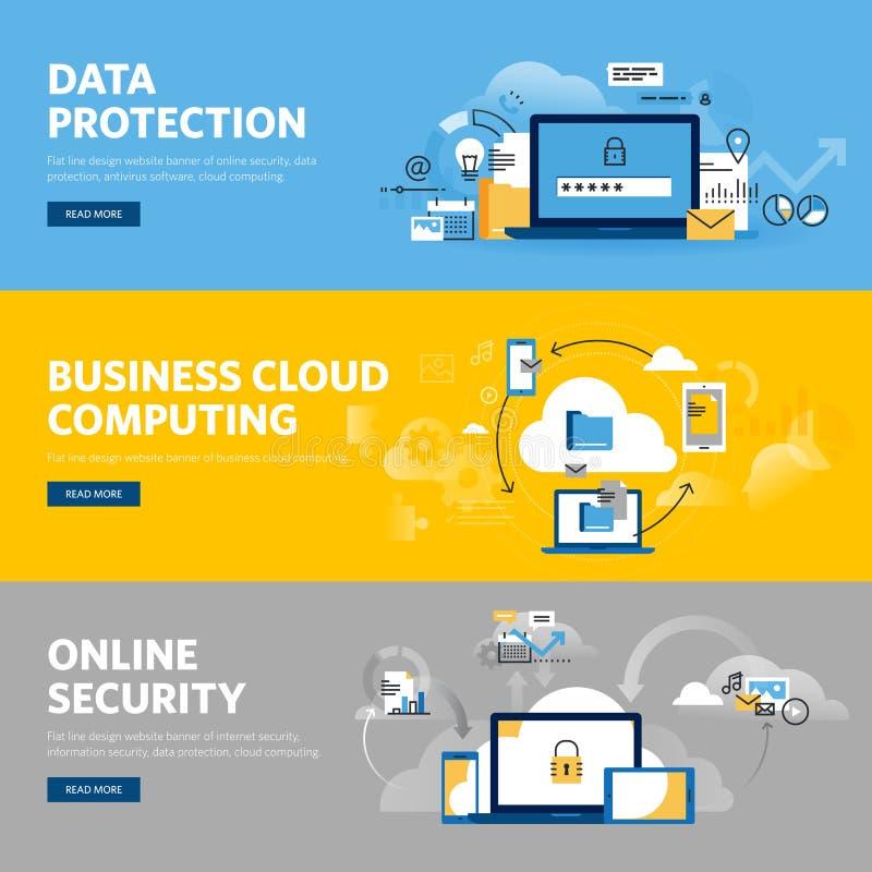 Reeks vlakke het Webbanners van het lijnontwerp voor gegevensbescherming, Internet-veiligheid royalty-vrije illustratie