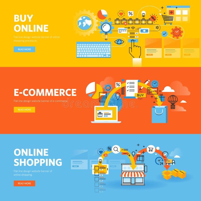 Reeks vlakke het Webbanners van het lijnontwerp voor online het winkelen, elektronische handel vector illustratie