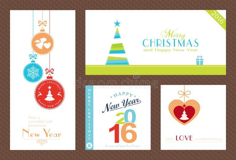 Reeks vlakke Kerstmis en Nieuwjaren achtergrond vector illustratie