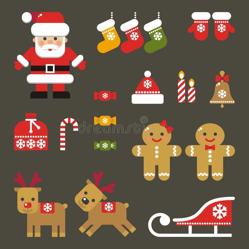 Reeks Vlakke Kerstmispictogrammen vector illustratie