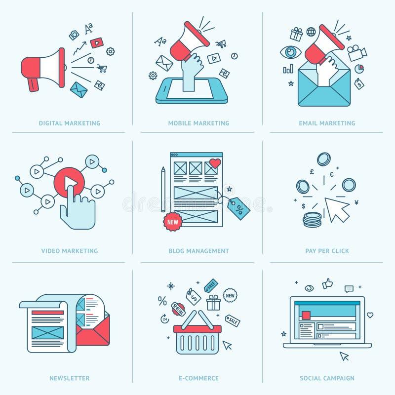 Reeks vlakke lijnpictogrammen voor marketing royalty-vrije illustratie