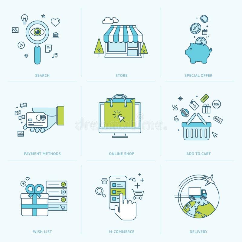 Reeks vlakke lijnpictogrammen voor online het winkelen royalty-vrije illustratie