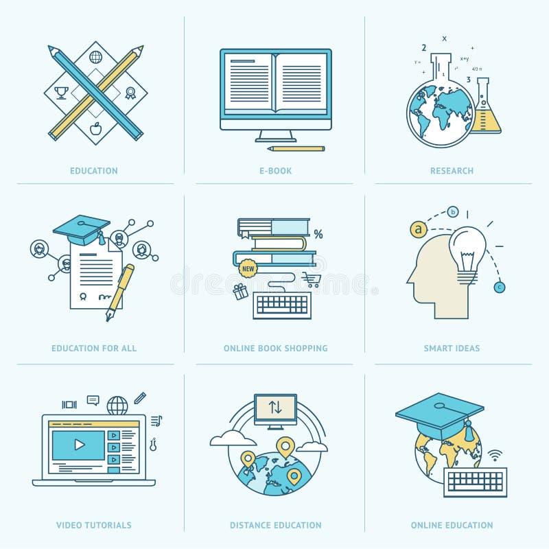 Reeks vlakke lijnpictogrammen voor online onderwijs vector illustratie