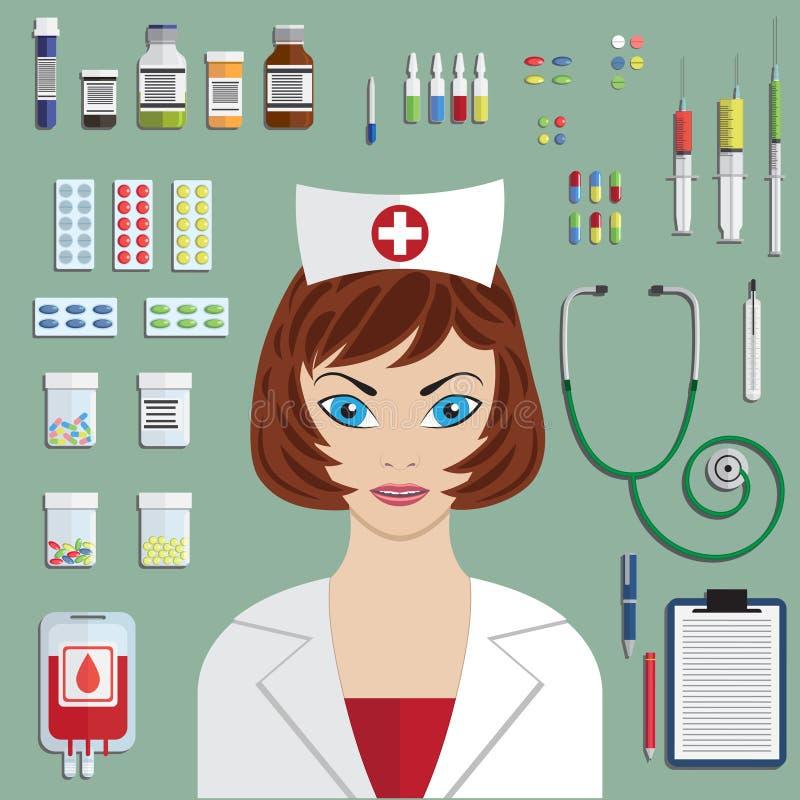 Reeks vlakke medische voorwerpen royalty-vrije illustratie