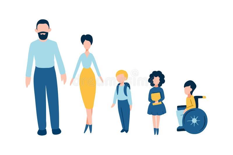 Reeks vlakke mensenpictogrammen - de mannelijke vaderman, vrouwelijke moedervrouw, kinderen van de jonge geitjesschool, één van h royalty-vrije illustratie