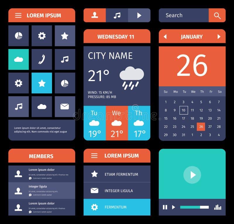 Reeks vlakke mobiele elementen, ontwerp en pictogrammen voor stock illustratie