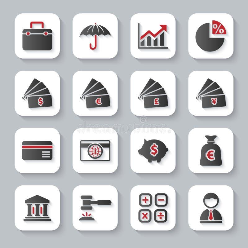 Reeks vlakke moderne pictogrammen van het bankwezenweb stock illustratie