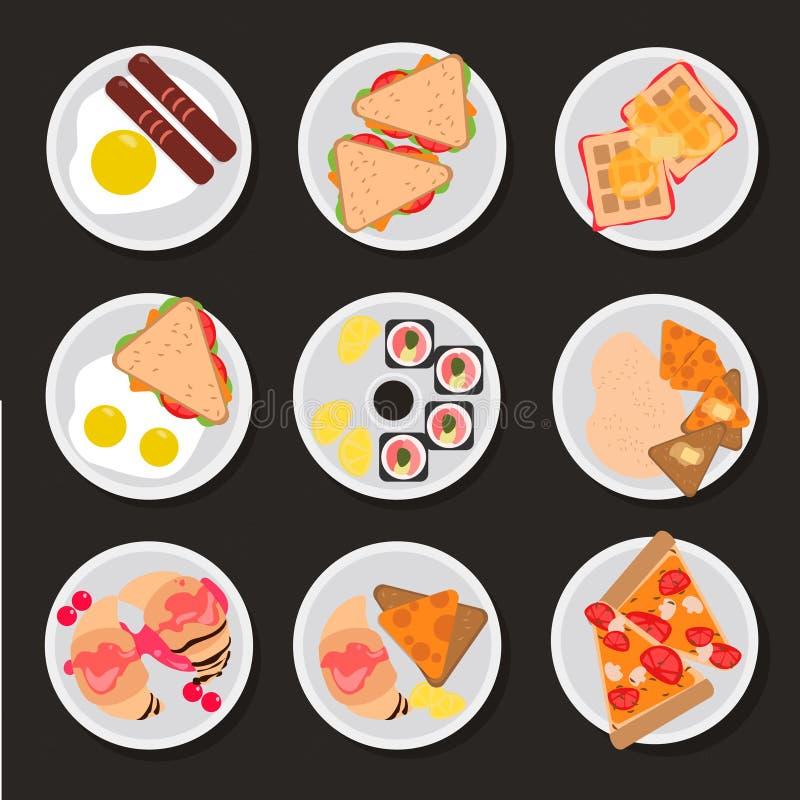 Reeks vlakke ontbijtpictogrammen stock afbeelding
