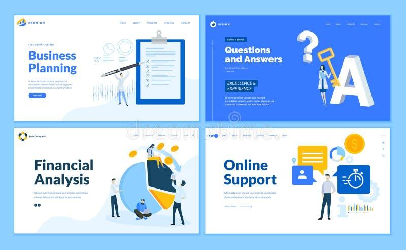 Reeks vlakke ontwerp bedrijfswebpaginamalplaatjes stock illustratie