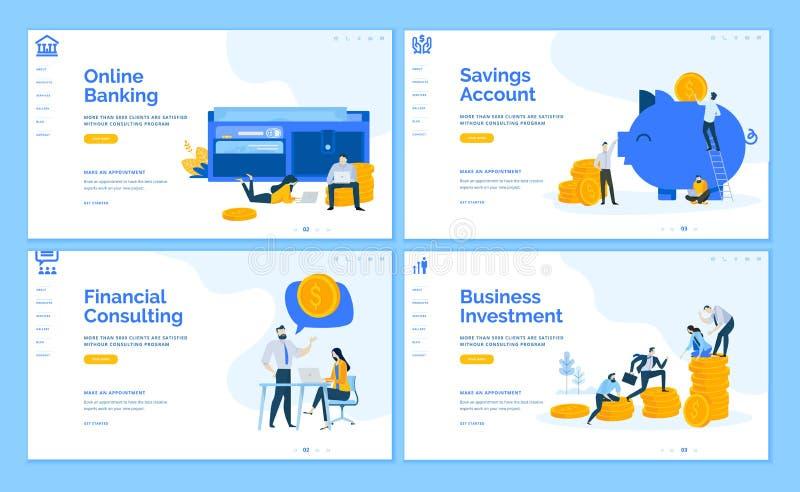 Reeks vlakke ontwerp bedrijfswebpaginamalplaatjes vector illustratie