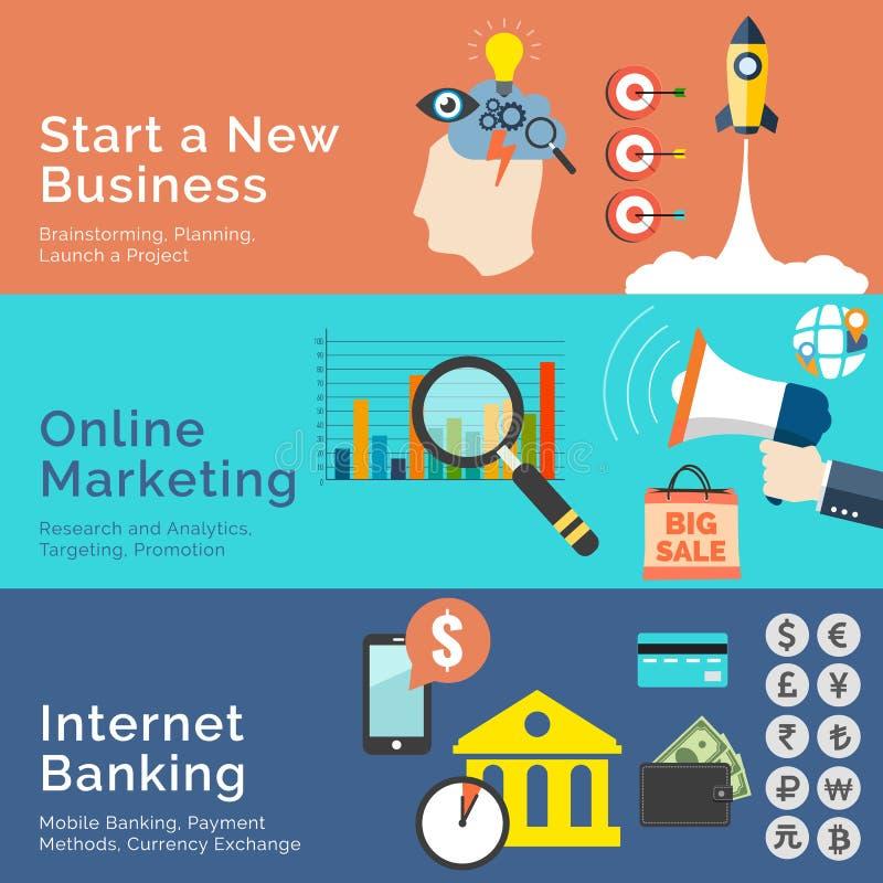 Reeks vlakke ontwerpconcepten Begin Nieuwe Zaken, Online Markt vector illustratie