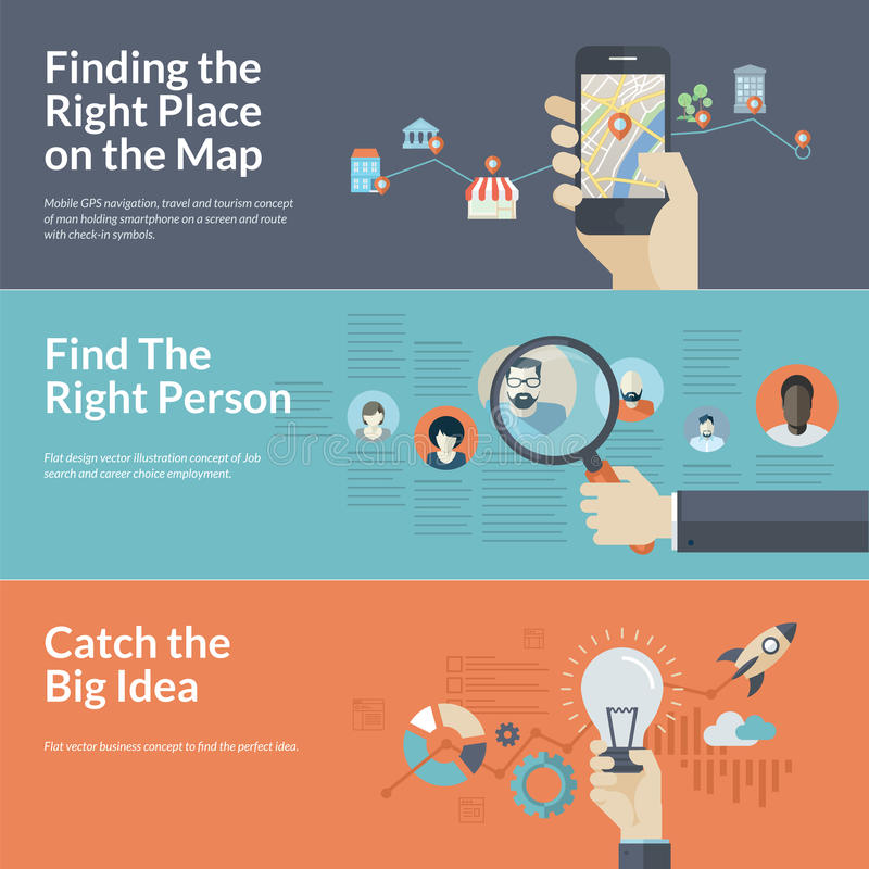 Reeks vlakke ontwerpconcepten voor de mobiele navigatie, de carrière, en de zaken van GPS vector illustratie