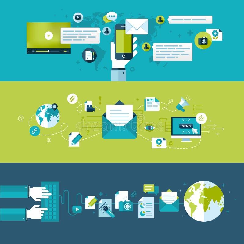 Reeks vlakke ontwerpconcepten voor e-mail vector illustratie