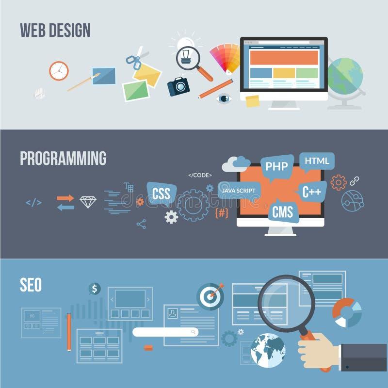 Reeks vlakke ontwerpconcepten voor Webontwikkeling vector illustratie