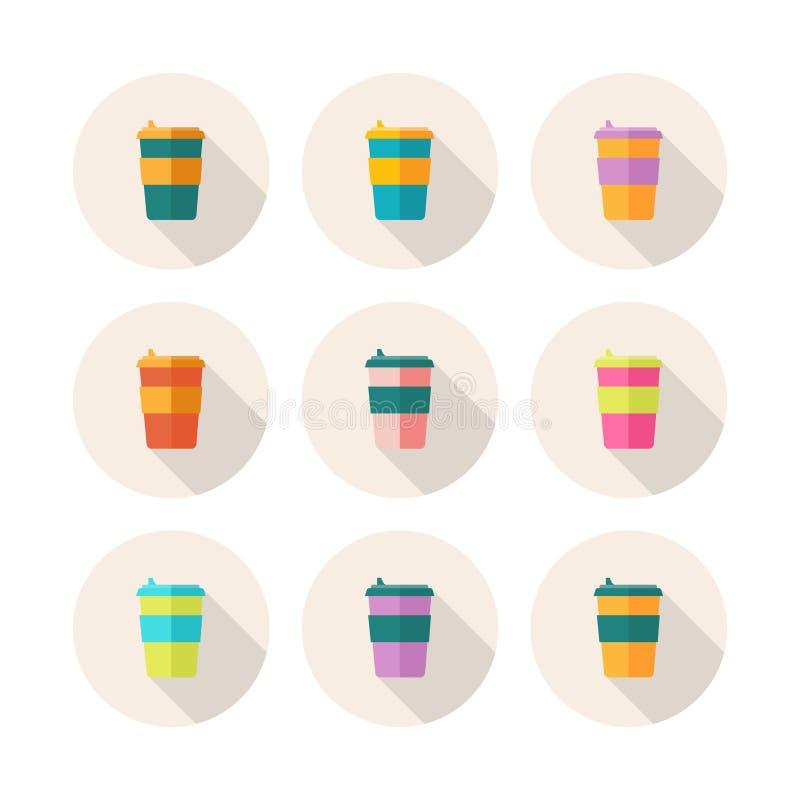 Reeks Vlakke Ontwerppictogrammen met Koffiemokken voor Veelvoudig Gebruik De Mok van reiseco stock illustratie