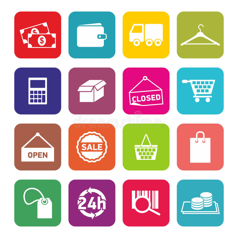 Reeks vlakke ontwerppictogrammen voor het winkelen en Elektronische handel royalty-vrije stock foto's