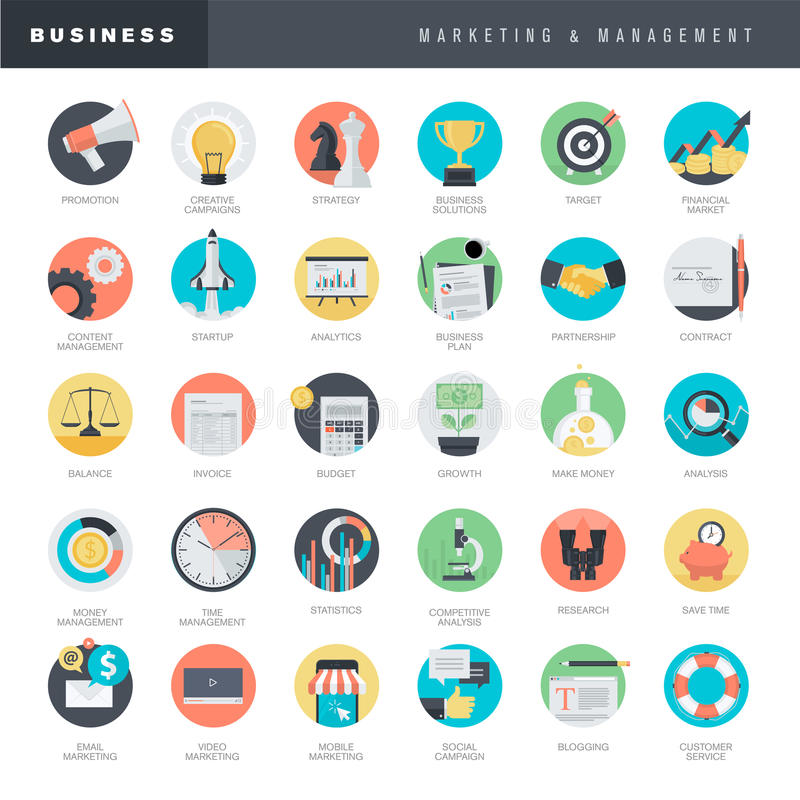 Reeks vlakke ontwerppictogrammen voor zaken en marketing stock illustratie