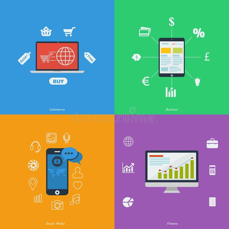 Reeks vlakke ontwerppictogrammen - Zaken, Financiën, Handel, Sociale Media stock illustratie