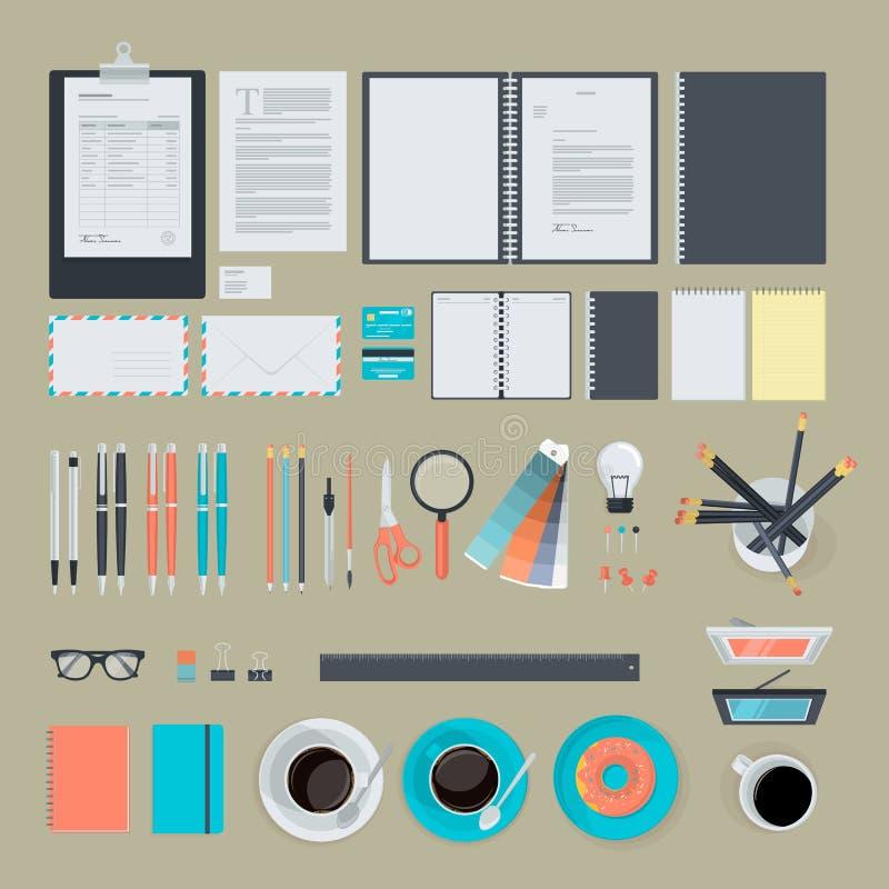 Reeks vlakke ontwerppunten voor zaken royalty-vrije illustratie