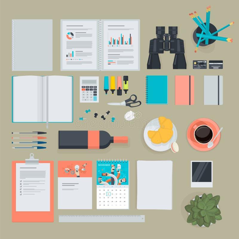 Reeks vlakke ontwerppunten voor zaken, financiën, marketing royalty-vrije illustratie