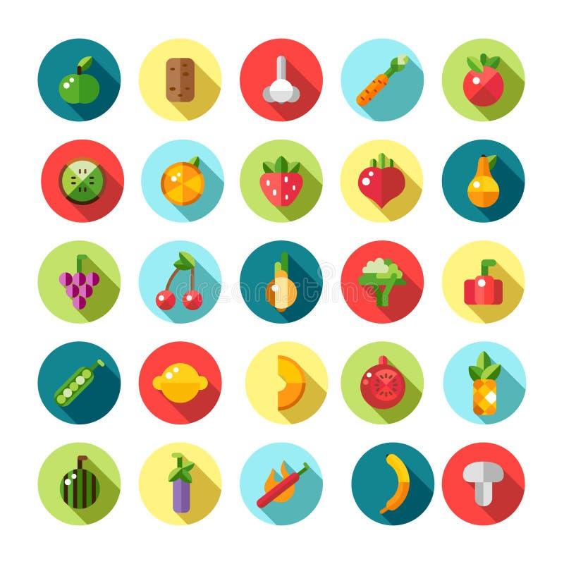 Reeks vlakke ontwerpvruchten en groentenpictogrammen vector illustratie