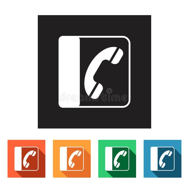 Reeks vlakke pictogrammen (telefoon, mededeling, folder), vector illustratie