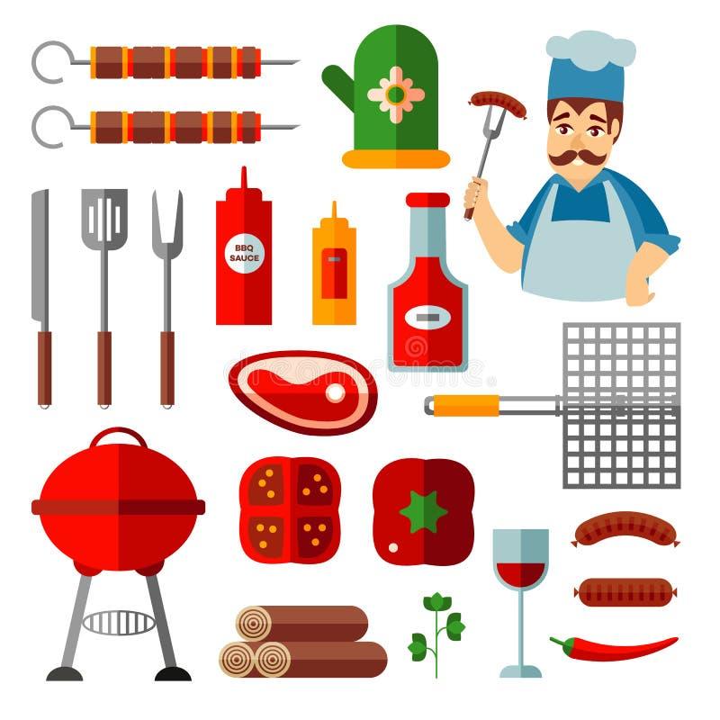 Reeks vlakke pictogrammen van bbq, barbecuevoorwerpen, kok vector illustratie