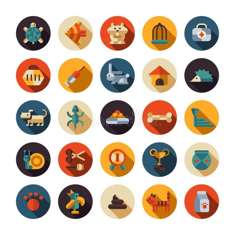 Reeks vlakke pictogrammen van de ontwerpdierenwinkel stock illustratie