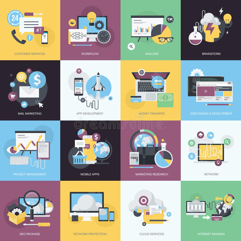 Reeks vlakke pictogrammen van de ontwerpstijl voor website en app ontwikkeling, elektronische handel