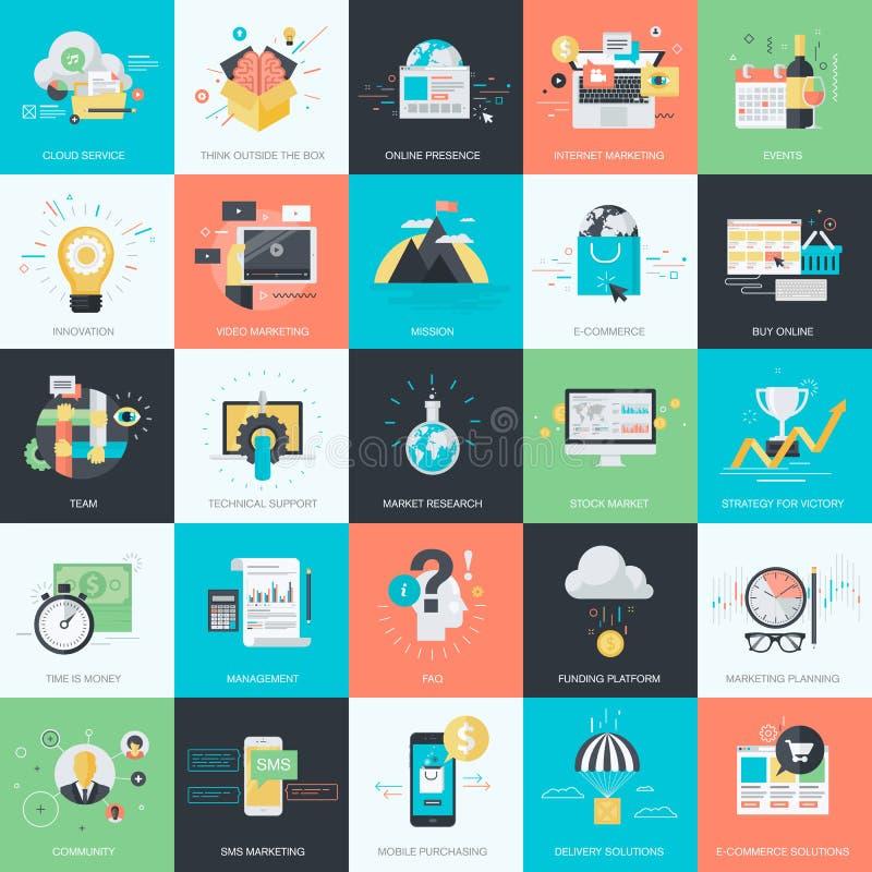 Reeks vlakke pictogrammen van de ontwerpstijl voor zaken en marketing royalty-vrije illustratie