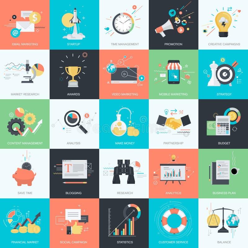 Reeks vlakke pictogrammen van de ontwerpstijl voor zaken en marketing vector illustratie