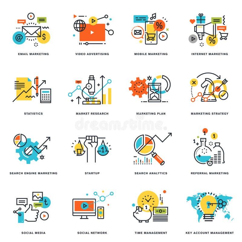 Reeks vlakke pictogrammen van het lijnontwerp van Internet-marketing en online zaken royalty-vrije illustratie