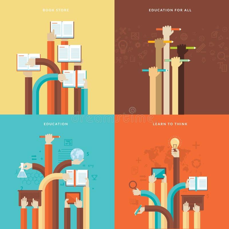 Reeks vlakke pictogrammen van het ontwerpconcept voor onderwijs stock illustratie