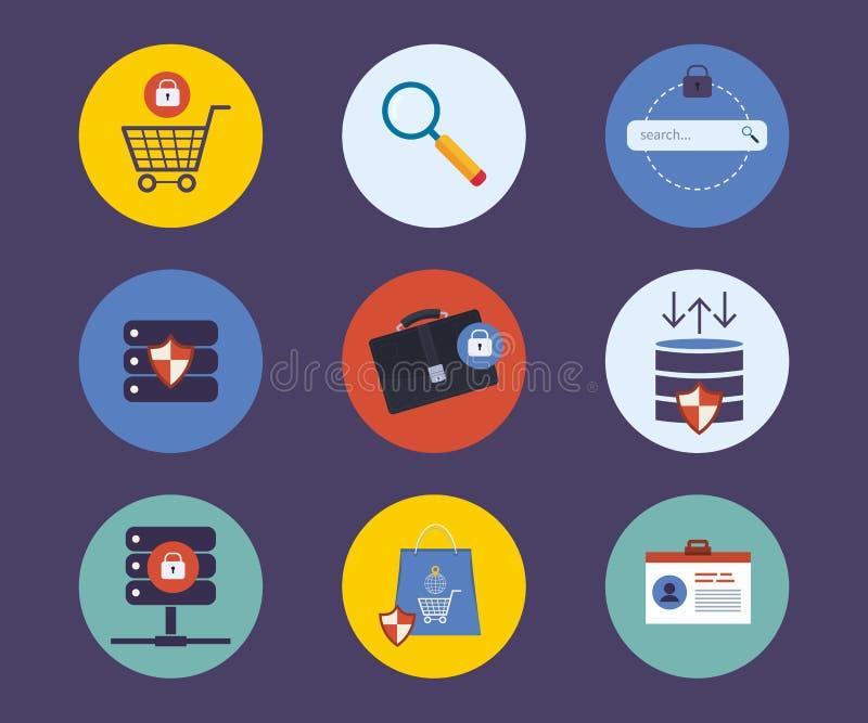 Reeks vlakke pictogrammen van het ontwerpconcept voor technologie stock illustratie