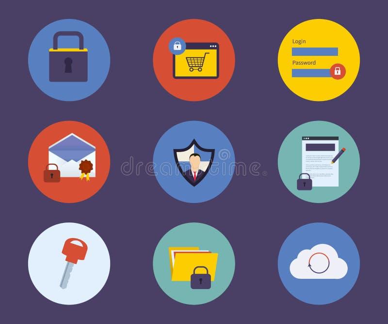 Reeks vlakke pictogrammen van het ontwerpconcept voor technologie vector illustratie