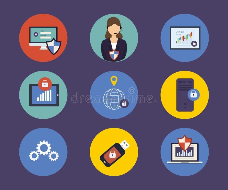 Reeks vlakke pictogrammen van het ontwerpconcept voor technologie royalty-vrije illustratie