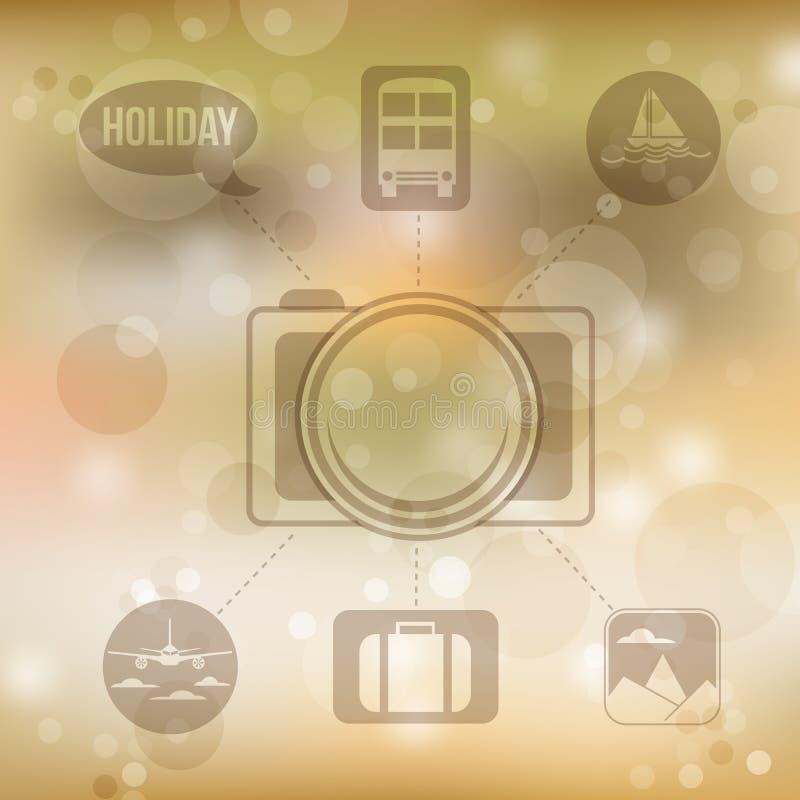 Reeks vlakke pictogrammen van het ontwerpconcept voor vakantie en reis op blurr stock illustratie