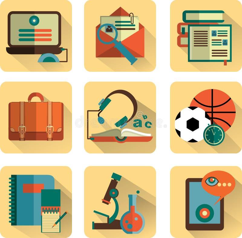 Reeks vlakke pictogrammen van onderwijs vector illustratie