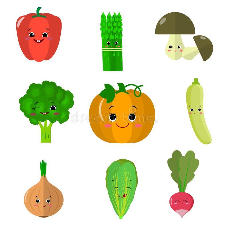 Reeks vlakke pictogrammen van plantaardige glimlachen vector illustratie