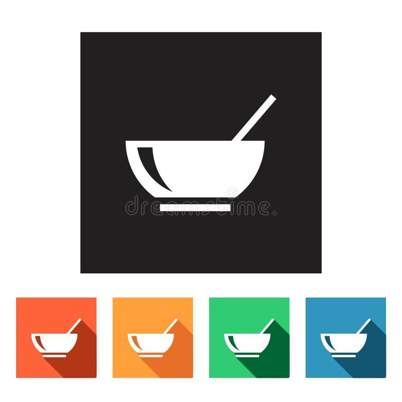 Reeks vlakke pictogrammen (voedsel, restaurant), royalty-vrije illustratie