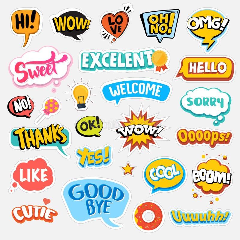 Reeks vlakke stickers van het ontwerp sociale netwerk royalty-vrije illustratie