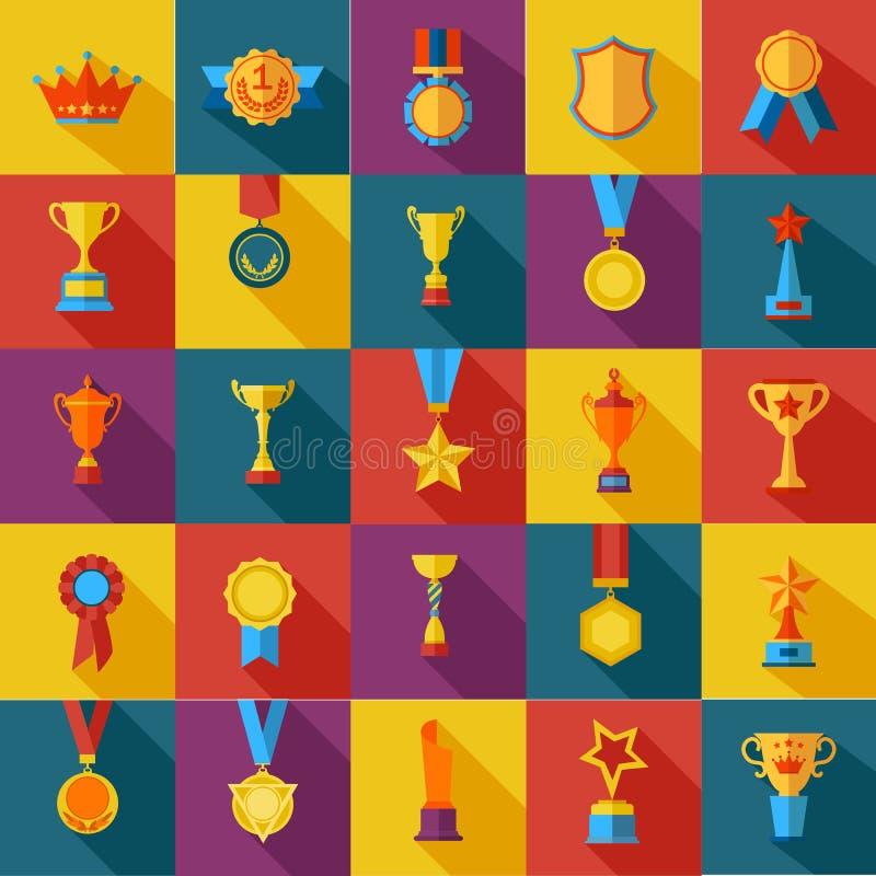 Reeks vlakke toekenningspictogrammen royalty-vrije illustratie