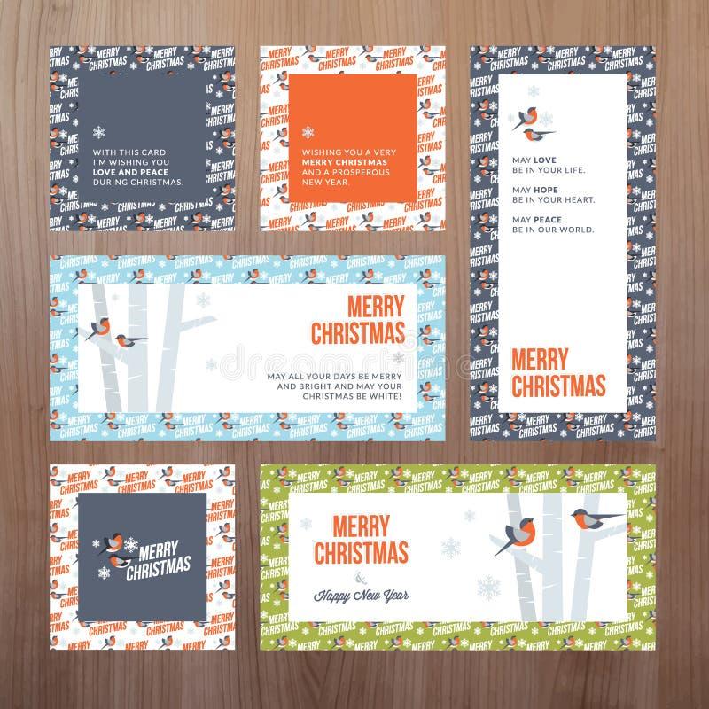 Reeks vlakke van het ontwerpkerstmis en Nieuwjaar groetkaarten stock illustratie
