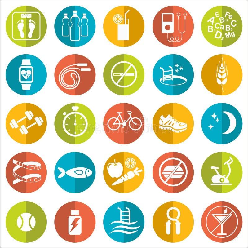 Reeks vlakke vectorpictogrammen met uiteinden voor het verliezen van gewicht Sport, dieet en gezonde levensstijl stock illustratie